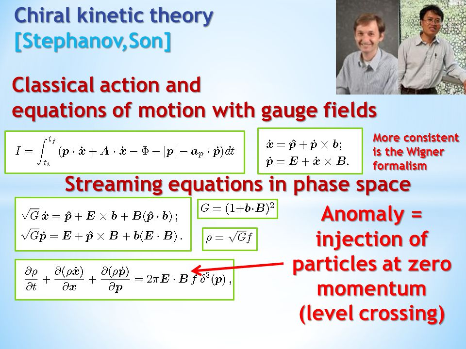 Chiral kinetic theory [Stephanov,Son]